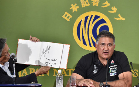 Japan's national rugby team head coach Jamie Joseph at a press conference at the Japan National Press Club in Tokyo on 29 August 2019 after announcement of the 31-man squad for the Rugby World Cup. Picture: AFP