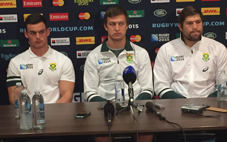 Springbok players speak to the media ahead of their 3rd place playoff match against Argentina on Friday. Picture: Vumani Mkhize/EWN.