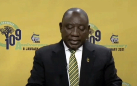 FILE: A screengrab of ANC president Cyril Ramaphosa was virtually delivering the party's January 8 Statement.