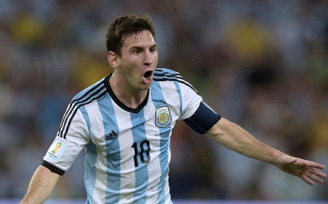 FILE: Argentina's Lionel Messi celebrates after scoring his team's second goal during the Group F football match between Argentina and Bosnia Hercegovina at the Maracana Stadium. Picture: AFP.
