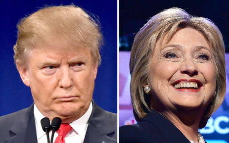 FILE: This file photo taken shows a combination of file photos of Republican presidential hopeful Donald Trump and his Democratic rival Hillary Clinton. Picture: AFP.