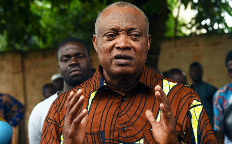 FILE: Togo's opposition leader Jean-Pierre Fabre speaks at the residence of leader of the PanAfrican National Party (PNP) Tikpi Atchadam, to show solidarity after a crackdown against anti-government protests calling for constitutional reform led by a coalition of opposition parties, in Lome, on 8 September 2018. Picture: AFP