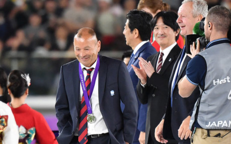 England's head coach Eddie Jones (L) walks off the podium as Japan's Crown Prince Akishino (C) applauds after losing the 2019 Rugby World Cup final match between England and South Africa at the International Stadium Yokohama in Yokohama on 2 November 2019. Picture: AFP