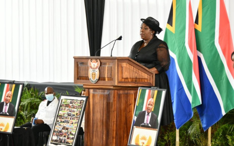 Premier Refilwe Mtsweni-Tsipane delivers the welcoming remarks during Jackson Mthembu's funeral on Sunday, 24 January 2021. Picture: @GovernmentZA on Twitter