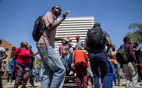 University of Pretoria students protest on the institution's Hatfield campus over possible university fee hikes for the 2017 academic year. Picture: Reinart Toerien/EWN