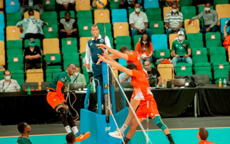 Tunisia playing against Cameroon in the final at the  Men's volleyball Africa Nations championship. Picture: @CavbZone5/Twitter.