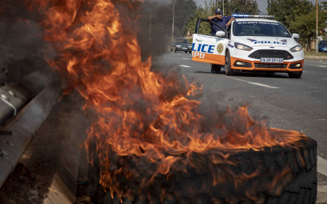 FILE:  A burning tyre during a protest. Picture: EWN