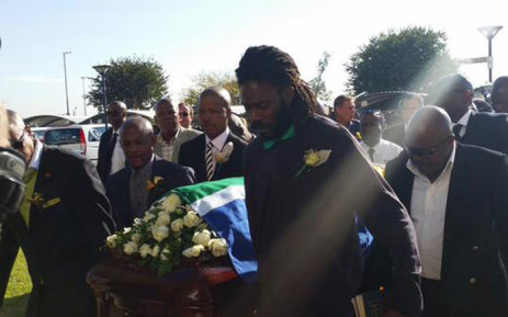 Coffin of football star John 'Shoes' Moshoeu arrives at the Grace Bible Church in Soweto on 27 April 2015. Picture: Twitter SAFA.net.