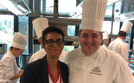 Crystal Orderson pictured with head chef Cedric Bourassin. Picture: Supplied.