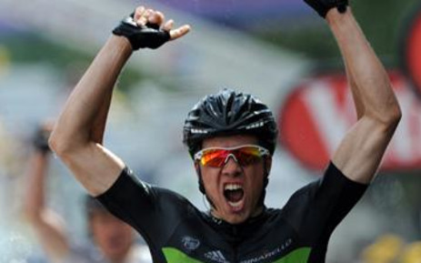 Norway's Edvald Boasson Hagen celebrates on the finish line as he wins the 2011 Tour de France. Picture: AFP