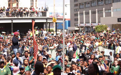 Crowd gathers to welcome the 2019 Rugby World Cup champions. Picture: Ahmed Kajee/EWN