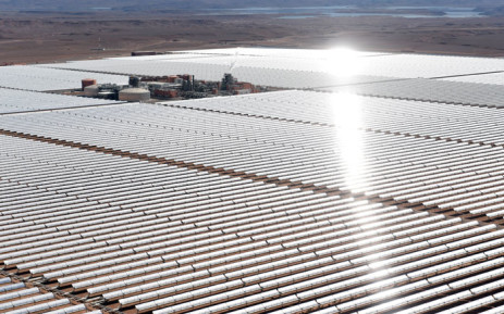An aerial view of the solar mirrors at the Noor 1 Concentrated Solar Power (CSP) plant, some 20km (12.5 miles) outside the central Moroccan town of Ouarzazate. Picture: AFP