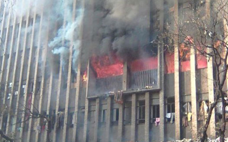 An image of the burning building in Nugget Street, Johannesburg on 5 July, 2017. Picture: Supplied
