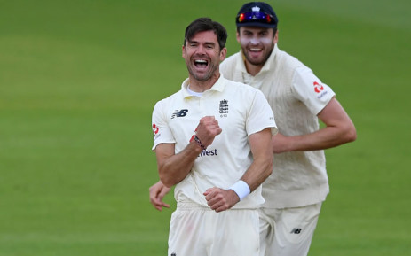 England's James Anderson celebrates having taken the wicket of Pakistan's Abid Ali, his 599th wicket in test cricket on the fourth day of the third Test cricket match between England and Pakistan at the Ageas Bowl in Southampton, southern England on 24 August 2020. Picture: AFP