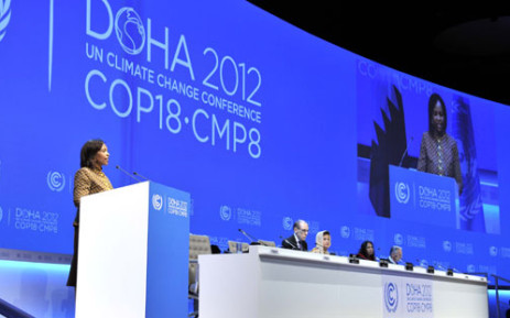 International Relations Minister Maite Nkoana-Mashabane addressing the COP18 conference during the opening session in Doha, Qatar. Picture: GCIS