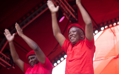 EFF leader Julius Malema on stage at the Giant stadium in Soshanguve on 2 February during the party's election manifesto launch. Picture: Abigail Javier/EWN