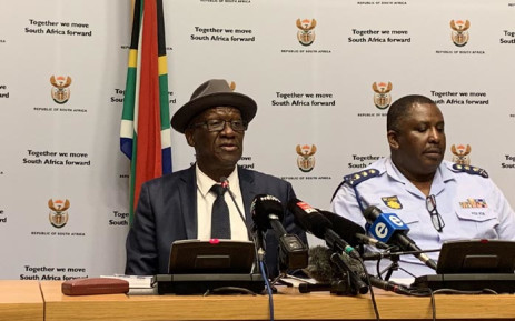 Police Minister Bheki Cele and the SA Police Service management brief media on the security detail at the FNB Stadium during the Global Citizen Festival. Picture: @SAgovnews/Twitter.