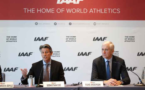 FILE: International Association of Athletics Federations (IAAF) President Sebastian Coe (L) and Independent chairperson of the IAAF Taskforce for Russia Rune Andersen hold a press conference in Monaco on 4 December 2018. The governing body of world athletics on 4 December maintained Russia's ban from track and field over mass state-backed doping, citing two conditions before the powerhouse can return to international competition. Picture: AFP