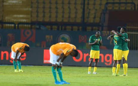 South Africa's U23 side celebrate their win over Ivory Coast in Cairo on 12 November 2019. Picture: @CAF_Online/Twitter