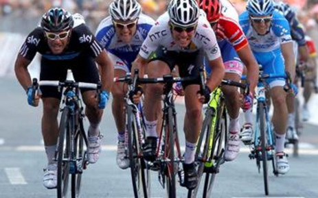 Britain's Mark Cavendish of HTC-Highroad sprints to win the 12th stage of the 94th Tour of Italy. Picture: Luk Benies/AFP