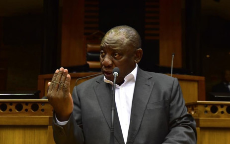 President Cyril Ramaphosa is taken through the state of readiness for the 2019 State of the Nation Address by Parliament's presiding officers. Picture: @CyrilRamaphosa/Twitter