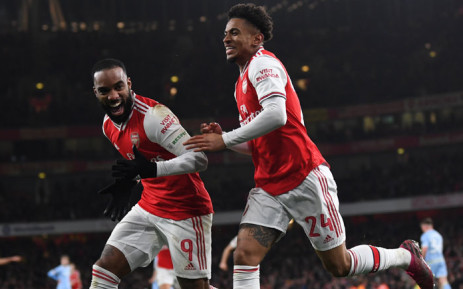 Arsenal players celebrate a goal. Picture: @Arsenal/Twitter