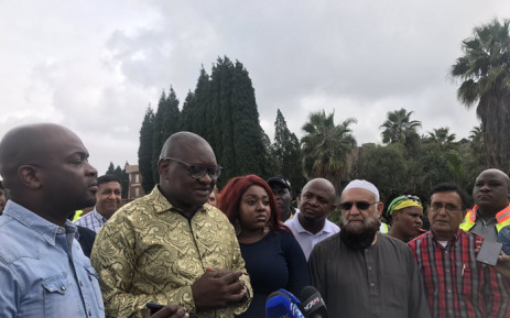 Gauteng Roads and Transport MEC, Ismail Vadi, Tshwane Mayor, Solly Msimanga as well as the Gauteng Premier David Makhura at the scene of a sinkhole on the R55 in Laudium on Monday 2 April 2018. Picture: Twitter/@GautengProvince