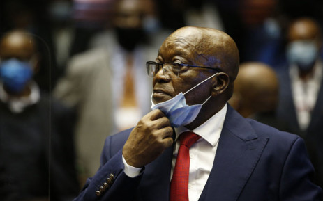 Former South African President Jacob Zuma stands in the dock during the recess of his corruption trial at the Pietermaritzburg High Court in Pietermaritzburg, South Africa, on 26 May 2021. Picture: Phill Magakoe/AFP