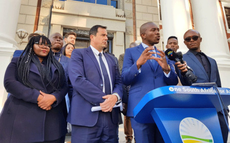 DA leader Mmusi Maimane addressing the media following the party's first caucus meeting ahead of the opening of the 6th Parliament. Picture: @Our_DA/Twitter.