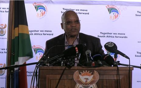 President Jacob Zuma speaks at the unveiling of the Chris Hani monument in Boksburg. Picture: Reinart Toerien/EWN.