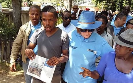 Western Cape Premier Helen Zille tries to talk to students during their #FeesMustFall campaign in Cape Town. Picture: Regan Thaw/EWN.