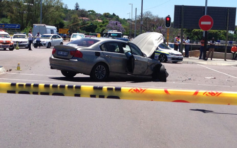 Two cars collided after a botched hijacking which involved a high-speed police car chase on 5 November 2014. Picture: Reinart Toerien/EWN.