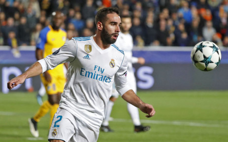 Real Madrid's Spanish defender Dani Carvajal advances with the ball during the UEFA Champions League Group H match between Apoel FC and Real Madrid on 21 November 2017. Picture: AFP