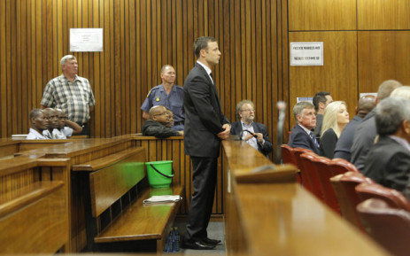 FILE: Oscar Pistorius is pictured standing in the dock. Picture: Pool.