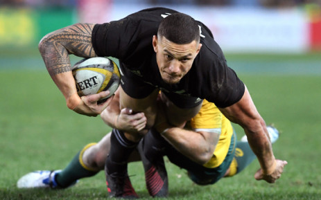 New Zealand's All Blacks centre Sonny Bill Williams being tackled during their Rugby Championship test match against the Australian Wallabies in Sydney. Picture: AFP.