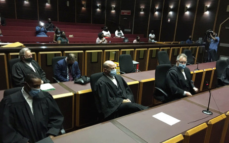 The NPA team led by Adv. Billy Downer in the Pietermaritzburg Magistrates Court on 8 December 2020 for the case against former President Jacob Zuma and Thales. Picture: Nkosikhona Duma/EWN.