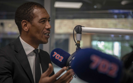 Former Springbok wing and SuperSport analyst Ashwin Willemse talks to Eusebius McKaiser in the 702 studio. Picture: Thomas Holder/EWN