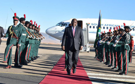 President Cyril Ramaphosa arrives in Maseru, Lesotho on 4 July 2019. Picture: @PresidencyZA/Twitter