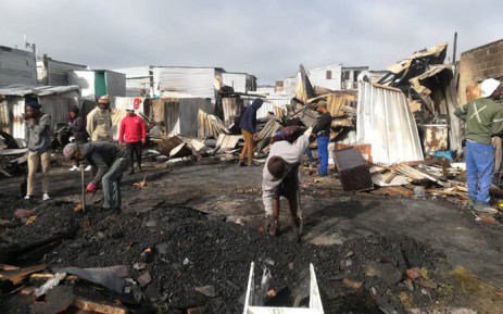 More than 135 people were displaced after a fire broke out at the Joe Slovo informal settlement near Milnerton on 17 August 2019. At least 45 structures were gutted in the blaze. Picture: Supplied.