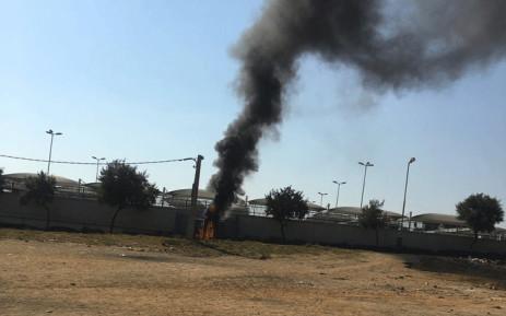 A power station was set on fire near the Marlboro Gautrain Station. Picture: Edwin Ntshidi/EWN.