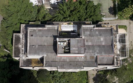 Aerial picture released by Goez Films taken on November 29, 2018 showing the concrete Monaco building which was once home to Colombian drug lord Pablo Escobar in Medellin, Colombia. Picture: AFP.