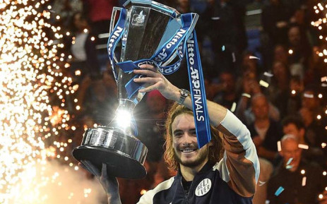 Greece's Stefanos Tsitsipas poses with the winner's trophy after winning the men's singles final match on day eight of the ATP World Tour Finals tennis tournament at the O2 Arena in London on 17 November 2019. Picture: @atptour/Twitter