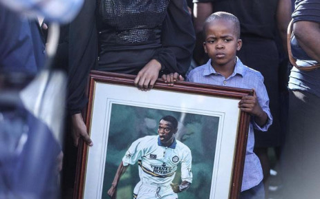 Family members attend the funeral of former Bafana Bafana forward Phil Masinga on 24 January 2019 at the Khumalo Stadium in Khuma, North West province. Picture: Abigail Javier/EWN