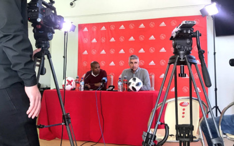 Ajax Cape Town CEO Ari Efstathiou (right) speaks during a press conference. Picture: @ajaxcapetown/Twitter