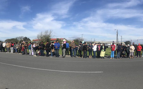 Macassar residents gather outside the Rheinmettal Denel Munition plant to mourn the victims of an explosion on 4 September 2018. Picture: Cindy Archillies/EWN