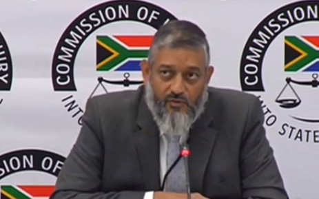 A screengrab of Transnet acting group chief executive Mohammed Mahomedy at the Zondo commission of inquiry into state capture on 15 May 2019.