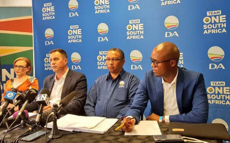 (From left) The DA's federal council chairperson Helen Zille, interim leader John Steenhuisen, interim federal chairperson Ivan Meyer and national spokesperson Solly Malatsi pictured on 17 November 2019. Picture: @Our_DA/Twitter