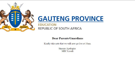 Gauteng Department of Education website for school online registration for 2017. Picture: Screengrab.