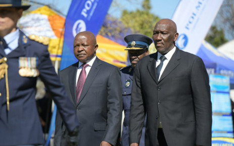 Deputy President David Mabuza (L), Police Minister Bheki Cele (R), and National Police Commissioner Khehla Sitole at the annual SAPS commemoration day at the Union Buildings on 1 September 2019. Picture: @SAPoliceService/Twitter.