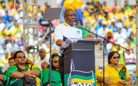 President Cyril Ramaphosa addresses ANC supporters at the governing party's election manifesto launch at Durban's Moses Mabhida Stadium on 12 January 2019. Picture: @MYANC/Twitter